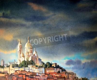 Quadro Pintura da aguarela do Montmartre, na cidade de Paris, France.