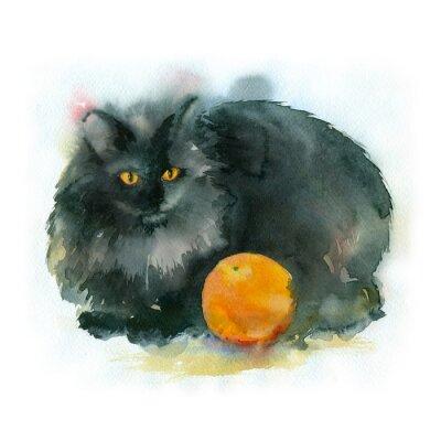 Quadro Pintura da aguarela. Gato preto com laranja.