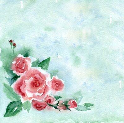 Quadro Pintura da aguarela. Ramalhete do vintage de rosas vermelhas em um fundo borrado verde.