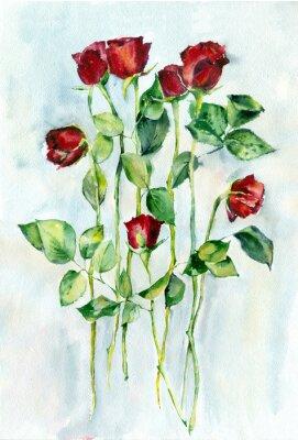 Quadro Pintura da aguarela. Rosas vermelhas com folhas verdes em hastes longas.
