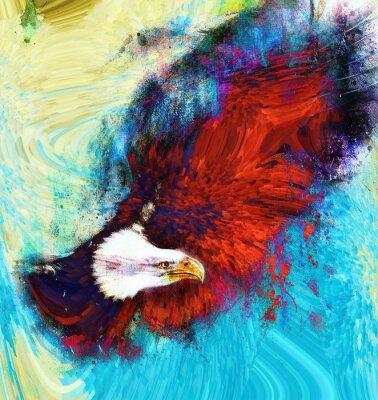 Quadro pintura da águia em um fundo abstrato, EUA Symbols Liberdade