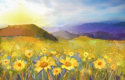 Quadro Pintura da flor da margarida blossom.Oil de um pôr do sol rural