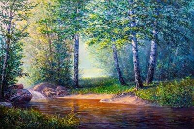 Quadro pintura de paisagem da cachoeira