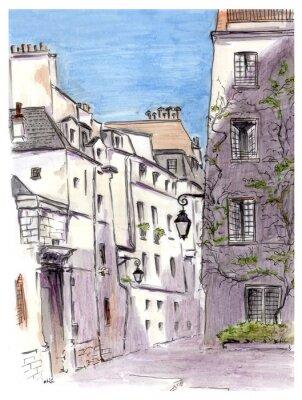 Quadro Pintura de rua de cidade européia Paris