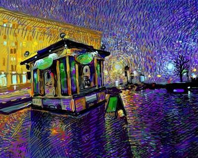 Quadro pintura digital da arte da noite da cidade de Kyiv, ilustração vetorial