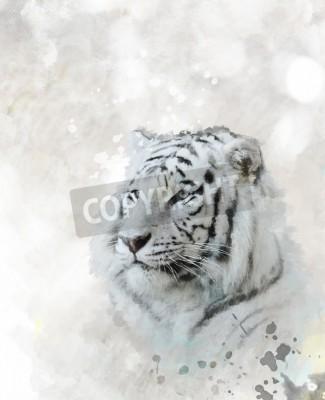 Quadro Pintura digital da cabeça branca do tigre
