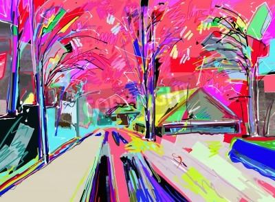 Quadro Pintura digital da paisagem do inverno
