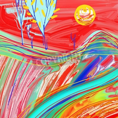 Quadro Pintura digital da paisagem vermelha do por do sol, inspiração criativa dos trabalhos de arte, impressionismo moderno, ilustração do vetor
