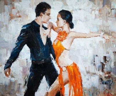 Quadro Pintura digital dos dançarinos do tango, dançarinos do tango