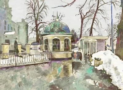 Quadro pintura digital original de inverno paisagem urbana Impressionismo Modern