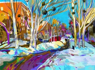 Quadro pintura digital original de inverno paisagem urbana. Impressionismo Moderno