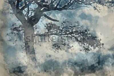 Quadro Pintura em aquarela de bela paisagem da paisagem em torno de Cummock Water no outono na manhã de nevoeiro