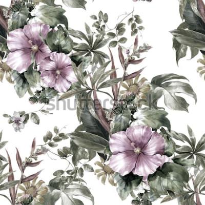 Quadro Pintura em aquarela de folha e flores, sem costura padrão no fundo branco