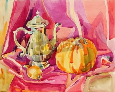 Quadro pintura em aquarela feito à mão original ainda vida com bule de prata chá e abóbora, composição da arte, ilustração vetorial