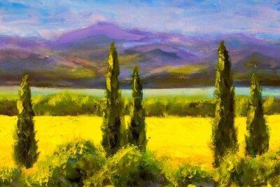 Quadro Pintura italiano ciprestes Toscana paisagem campo montanhas arbustos horizontalmente arte