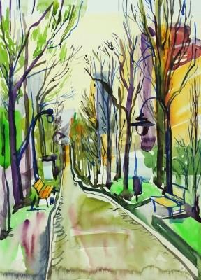Quadro pintura original da aguarela de parque da cidade