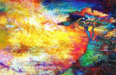 Quadro Pintura pôr do sol, mar e árvore, papel de parede paisagem, colagem de cores
