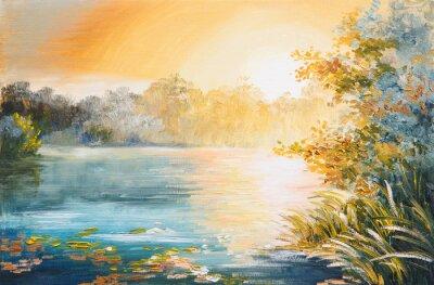 Quadro pintura - por do sol no lago