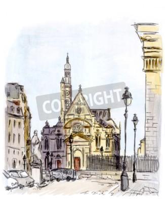 Quadro Pintura, rua, europeu, cidade, paris, aguarela