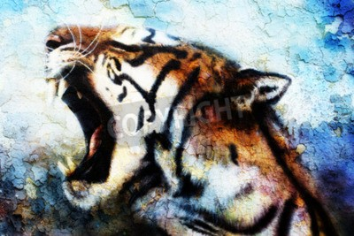 Quadro Pintura Sumatran Tiger Roaring