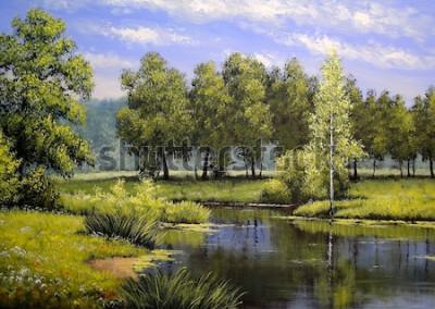 Quadro Pinturas a óleo paisagem, rio e árvores, lagoa, arte