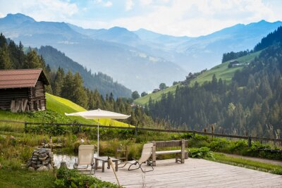 Quadro Pitoresco Relaxante Ponto Para Relaxar Nos Alpes