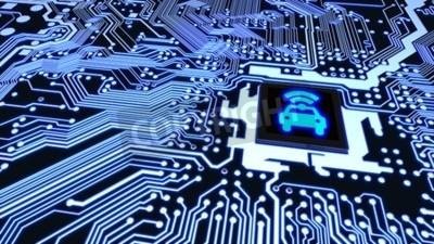 Quadro Placa de placa de circuito azul conectada a uma CPU com um símbolo de wifi de carro brilhante no topo do conceito de veículo inteligente Ilustração 3D