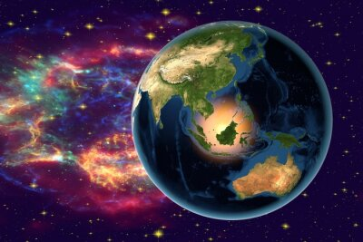 Quadro Planet Earth on the background with stars and galaxies, the Earth from space showing Indonesia, Australia, India and Malaysia on globe in the night time, elements of this image furnished by NASA