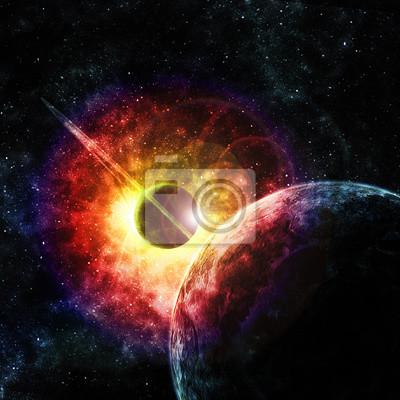 Quadro planeta com anéis