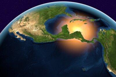 Quadro Planeta Terra, a Terra do espaço que mostra a América Central, Belize, Costa Rica, El Salvador, Guatemala, Honduras, Nicarágua, Panamá no globo no tempo do dia, os elementos desta imagem equipada pela