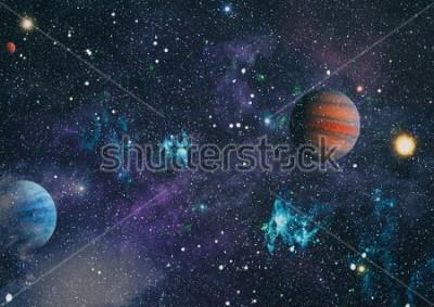 Quadro planetas, estrelas e galáxias no espaço exterior mostrando a beleza da exploração espacial. Elementos criados pela NASA