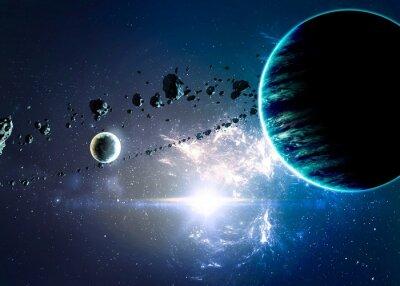 Quadro Planetas mais nebulosas no espaço.
