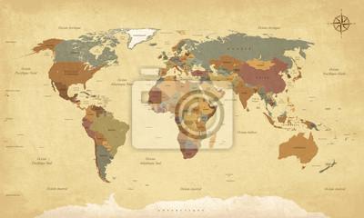 Quadro Planisphère Mappemonde Vintage - Textes in English. Vecteur