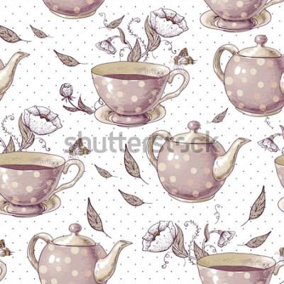 Quadro Plano de fundo sem emenda com xícaras de chá, vasos e flores em estilo vintage.