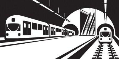 Quadro Plataforma, de, metro, estação, com, trens