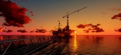 Quadro Plataforma de petróleo e plataformas offshore no tempo do por do sol. Construção de processo de produção no mar. Energia poder do world..3d renda