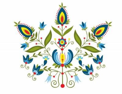 Quadro Polski wzór z ozdobnymi  kwiatami