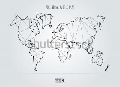 Quadro Polygonal abstract world map. Vector illustration.