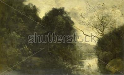 Quadro Pond in the Woods, de Camille Corot, 1840-75, pintura francesa, óleo sobre painel.
