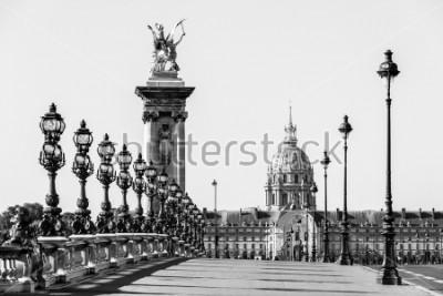 Quadro Pont Alexandre III ponte sobre o rio Sena e o Hotel des Invalides em segundo plano na manhã ensolarada de verão. Ponte decorada com lâmpadas e esculturas Art Nouveau. Paris, França