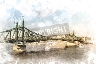 Quadro Ponte da liberdade em Budapest, Hungria. Fotografia do destino do turista com sityscape e rio.