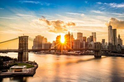 Quadro Ponte de Brooklyn e da skyline do Lower Manhattan no por do sol