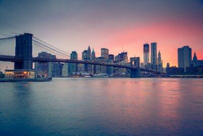 Quadro Ponte de Brooklyn e Manhattan ao entardecer