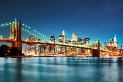 Quadro Ponte de Brooklyn na noite
