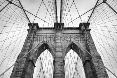 Quadro Ponte de Brooklyn, Nova Iorque, close-up detalhe arquitetônico em preto e branco intemporal