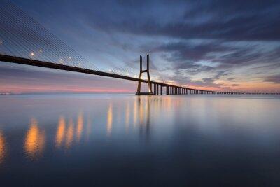 Quadro Ponte Vasco da Gama Sobre o Rio Tejo em Lisboa Ao Nascer do Sol
