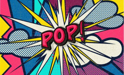Quadro Pop! Pop art funny comic speech word. Fashionable poster and banner. Social Media Connecting Blog Communication Content. Trendy and fashion color retro vintage illustration background. Easy editable.