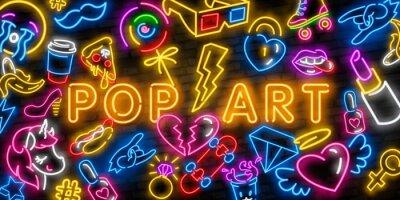 Quadro Pop art icons set. Pop art neon sign. Bright signboard, light banner. Neon isolated icon, emblem. Heart, diamond, pizza, smile, hand, ice cream, star, donut and unicorn vector neon icon