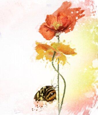 Quadro Poppy Flowers Watercolor