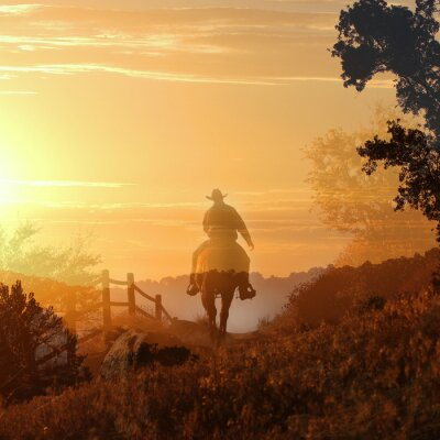 Quadro Por do sol do vaqueiro. Um cowboy monta fora no por do sol em camadas transparentes de nuvens alaranjadas e amarelas, uma cerca e árvores.